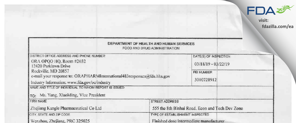 Zhejiang Kangle Pharmaceutical (Binhai Plant) FDA inspection 483 Mar 2019