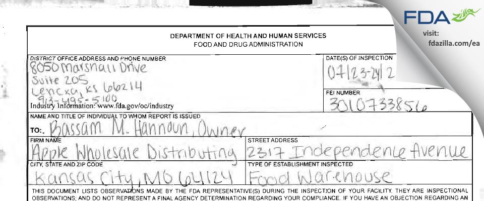 Apple Wholesale Distributing FDA inspection 483 Jul 2014