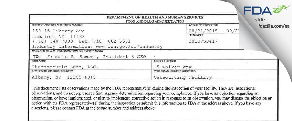 Pharmaceutic Labs. FDA inspection 483 Sep 2015