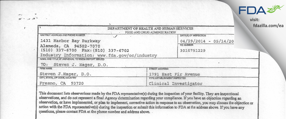 Steven J. Hager, D.O. FDA inspection 483 May 2014