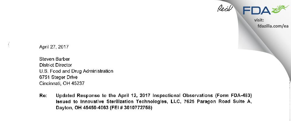 Innovative Sterilization Technologies FDA inspection 483 Apr 2017