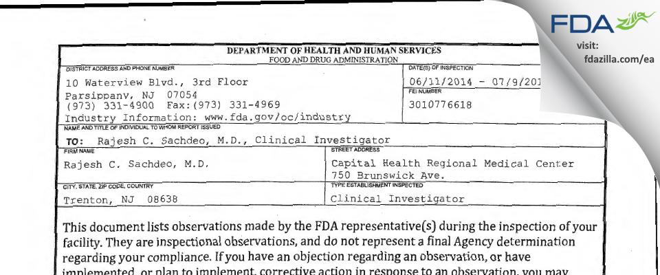 Rajesh Sachdeo FDA inspection 483 Jul 2014