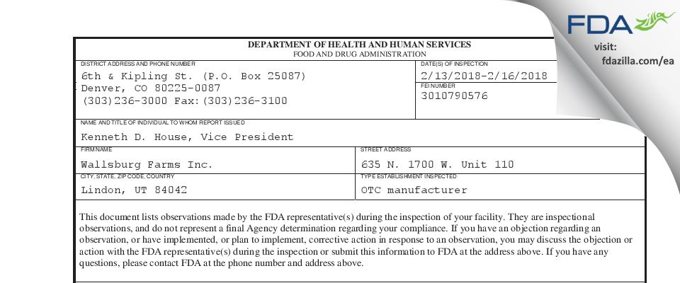 Wallsburg Farms FDA inspection 483 Feb 2018
