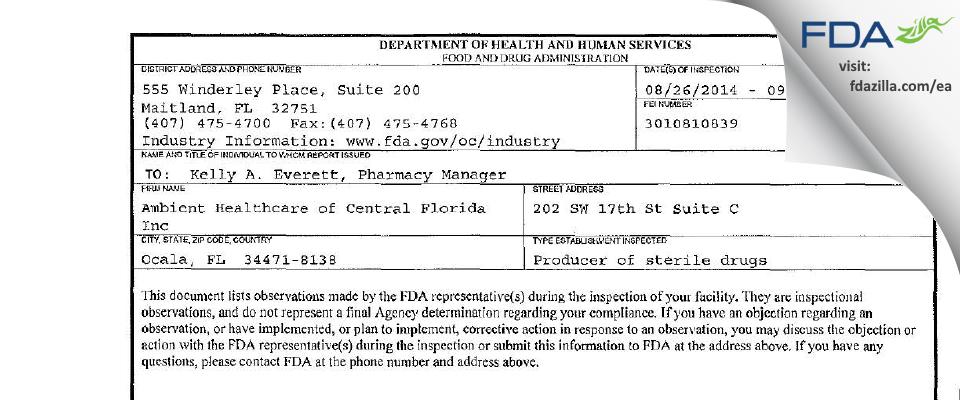 Avenue Pharmacy dba Pathway Pharmacy FDA inspection 483 Sep 2014