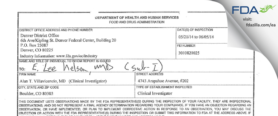 Villavicencio, Alan T., M.D. FDA inspection 483 Jun 2014
