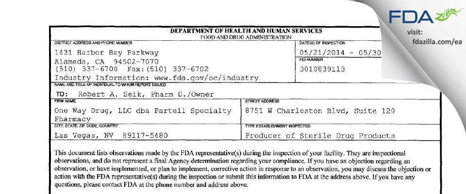 One Way Drug FDA inspection 483 May 2014