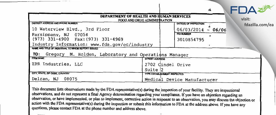 EPR Industries FDA inspection 483 Jun 2014