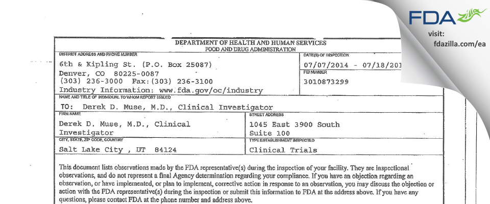 Derek D. Muse, M.D., Clinical Investigator FDA inspection 483 Jul 2014