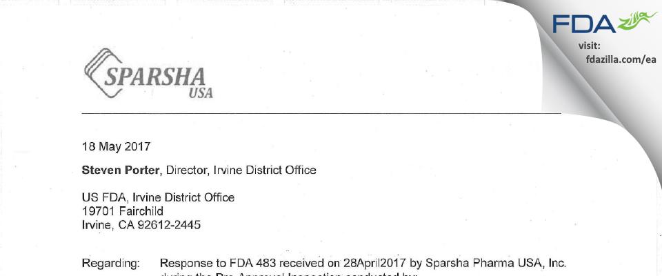 Sparsha Pharma Usa FDA inspection 483 Apr 2017