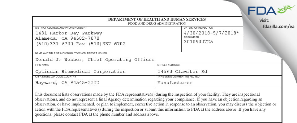 Optiscan Biomedical FDA inspection 483 May 2018