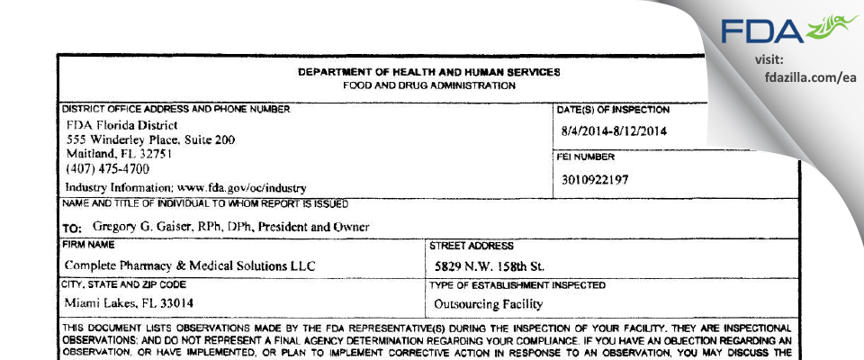 Complete Pharmacy and Medical Solutions dba Complete Pha FDA inspection 483 Aug 2014