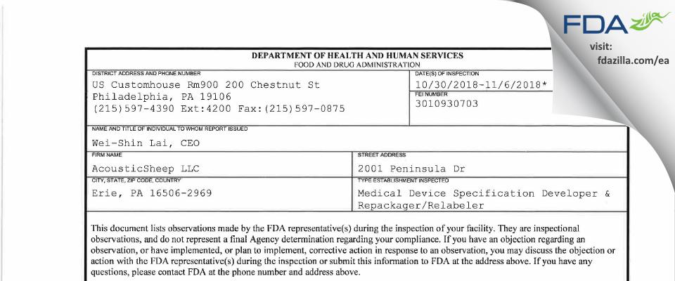 AcousticSheep FDA inspection 483 Nov 2018