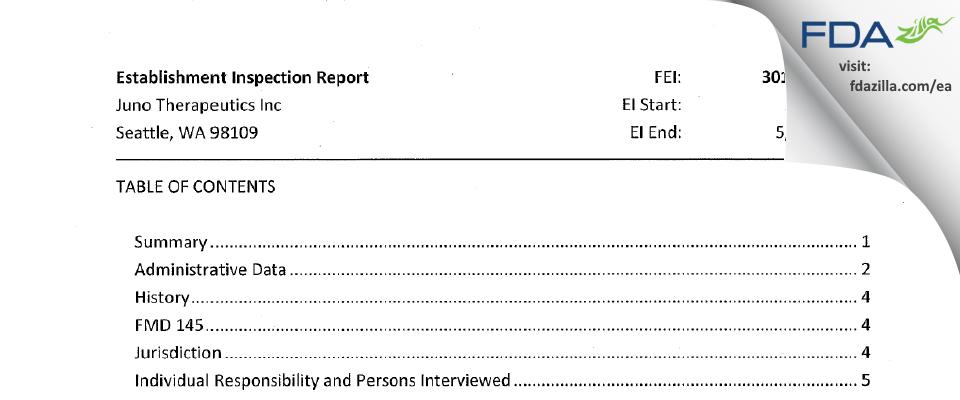 Juno Therapeutics FDA inspection 483 May 2019