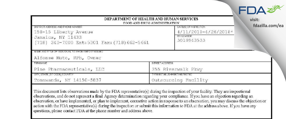 Pine Pharmaceuticals FDA inspection 483 Apr 2018