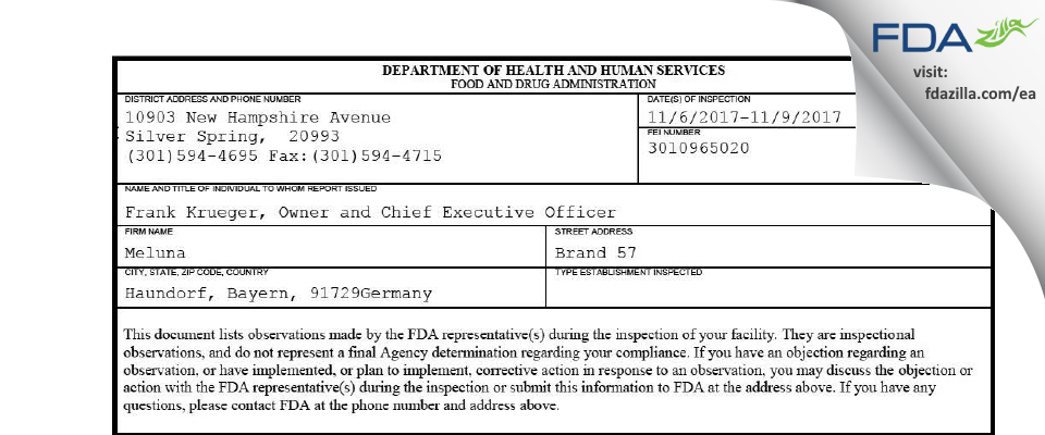 Meluna FDA inspection 483 Nov 2017