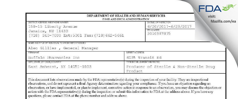 Buffalo Pharmacies FDA inspection 483 Jun 2017