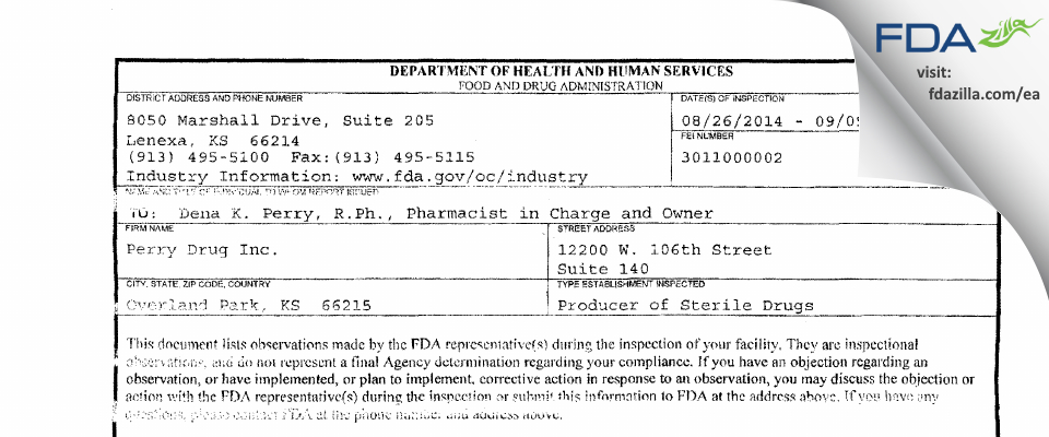 Perry Drugs FDA inspection 483 Sep 2014