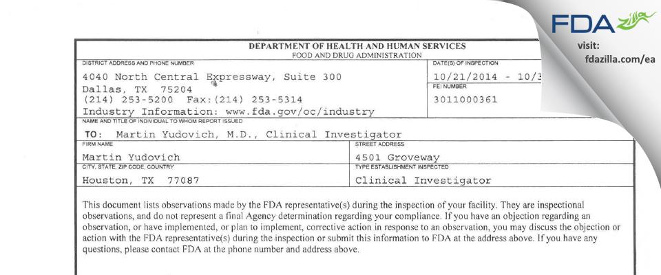 Martin Yudovich FDA inspection 483 Oct 2014