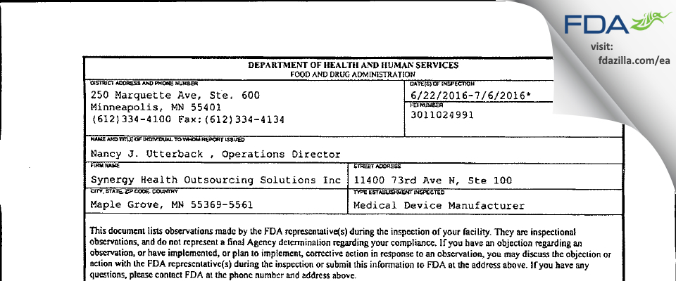 Synergy Health Outsourcing Solutions FDA inspection 483 Jul 2016