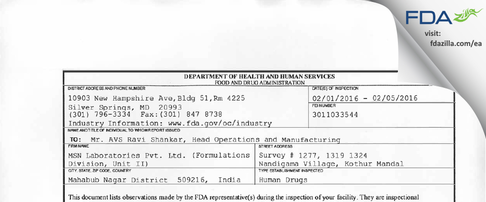 MSN Labs (Formulations Division, Unit-II) FDA inspection 483 Feb 2016