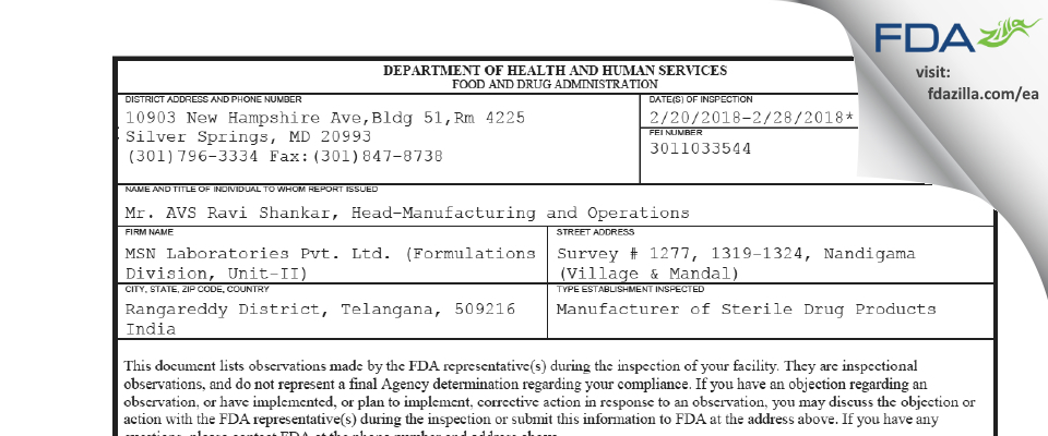 MSN Labs (Formulations Division, Unit-II) FDA inspection 483 Feb 2018