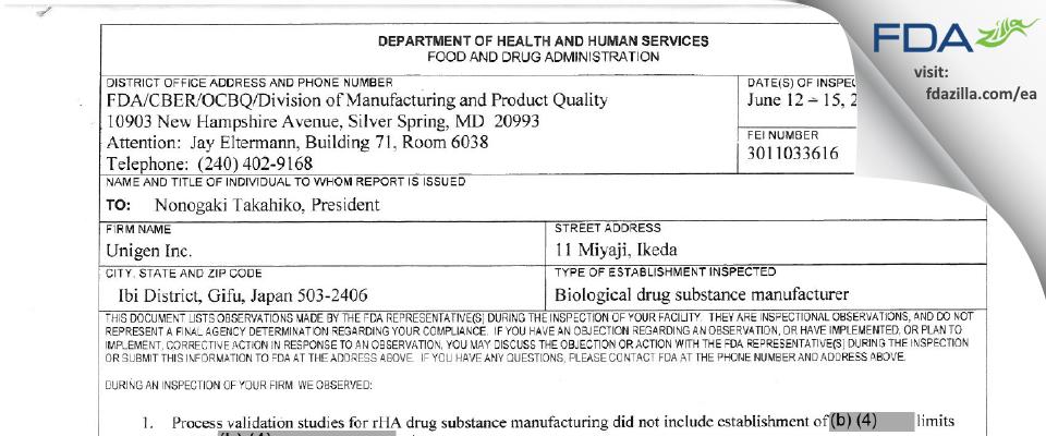 Unigen FDA inspection 483 Jun 2017
