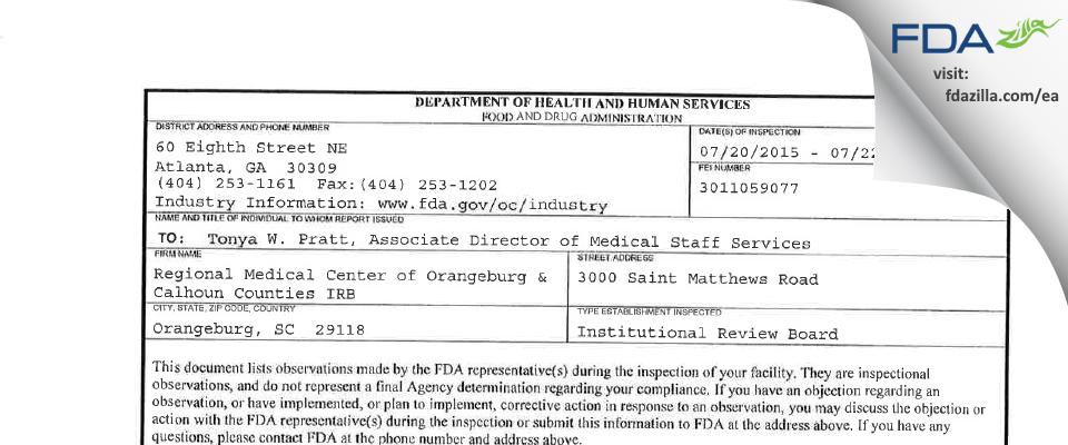 Regional Medical Center of Orangeburg & Calhoun Counties IRB FDA inspection 483 Jul 2015