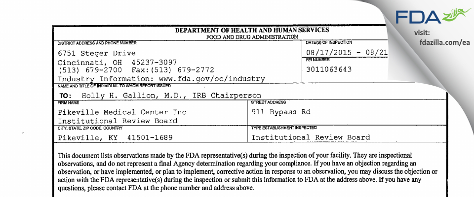 Pikeville Medical Center Institutional Review Committee FDA inspection 483 Aug 2015