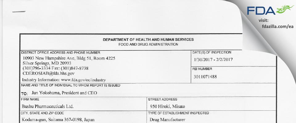 Bushu Pharmaceuticals FDA inspection 483 Feb 2017