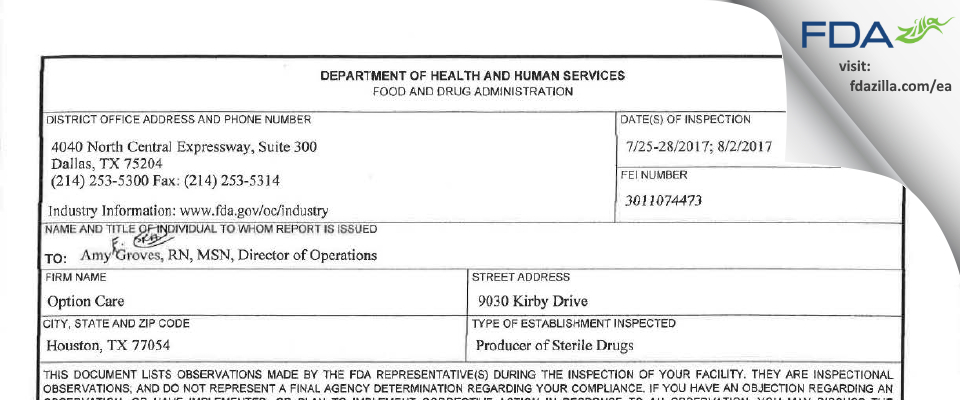 Option Care FDA inspection 483 Aug 2017