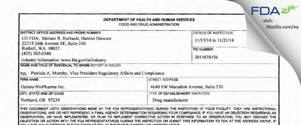 Galena Biopharma FDA inspection 483 Nov 2014