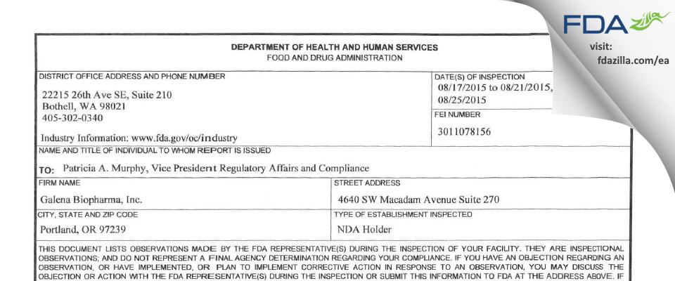 Galena Biopharma FDA inspection 483 Aug 2015
