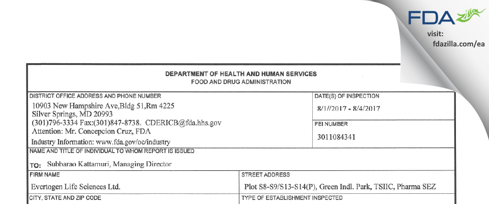 Evertogen Life Sciences FDA inspection 483 Aug 2017