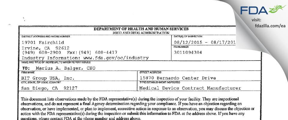 BIT Group USA FDA inspection 483 Aug 2015