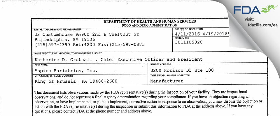 Aspire Bariatrics FDA inspection 483 Apr 2016