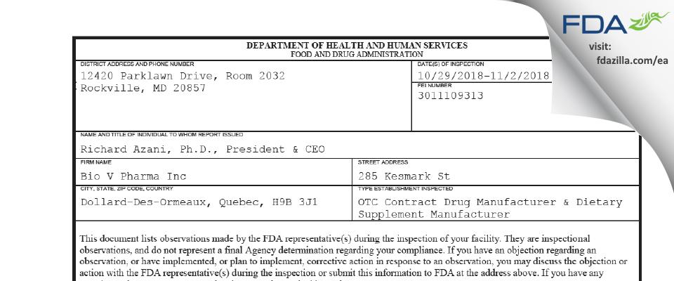 Bio V Pharma FDA inspection 483 Nov 2018
