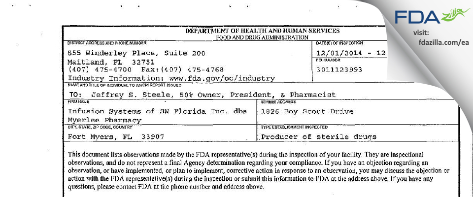 Infusion Systems of SW Florida dba Myerlee Pharmacy FDA inspection 483 Dec 2014