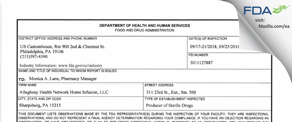 Allegheny Health Network Home Infusion FDA inspection 483 Sep 2018