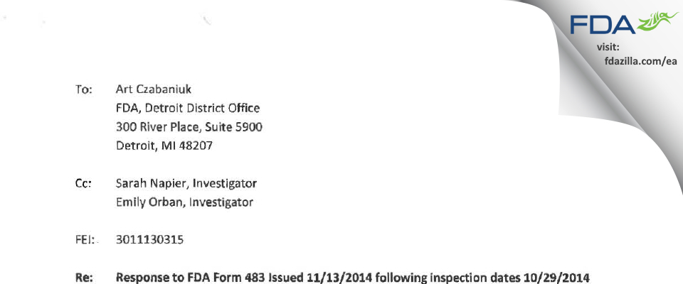 Diversified Pharmacy dba University Compounding Pharmacy FDA inspection 483 Nov 2014