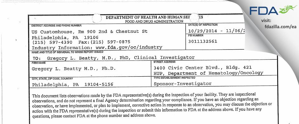 Gregory L. Beatty M.D., PhD FDA inspection 483 Nov 2014