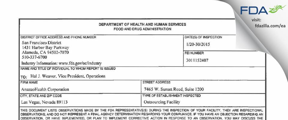 AnazaoHealth FDA inspection 483 Jan 2015