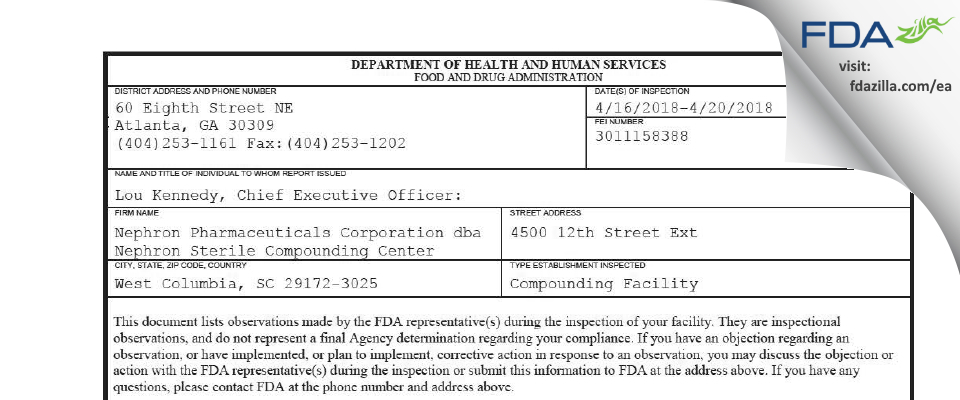 Nephron Pharmaceuticals dba Nephron Sterile Comp FDA inspection 483 Apr 2018