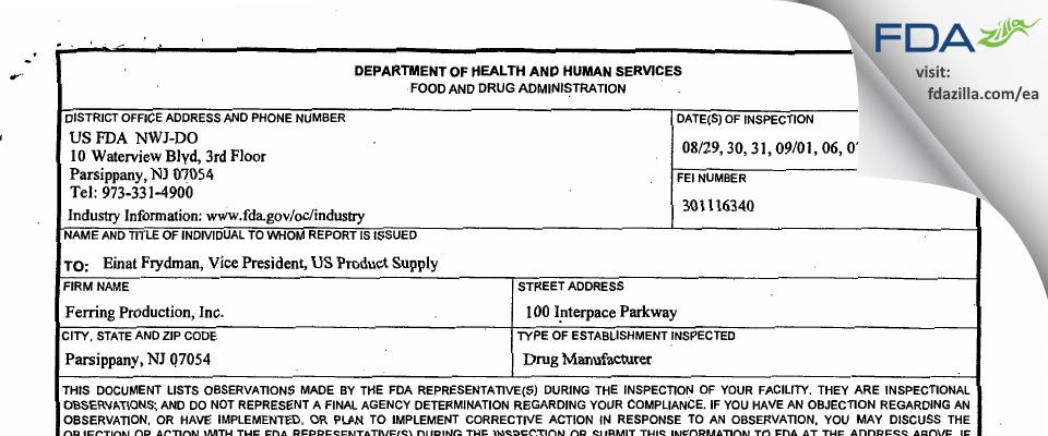 Ferring Production FDA inspection 483 Sep 2016