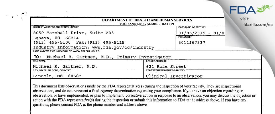 Michael R. Gartner, M.D. FDA inspection 483 Jan 2015