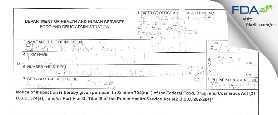 Lewis, Karl MD FDA inspection 483 Feb 2015