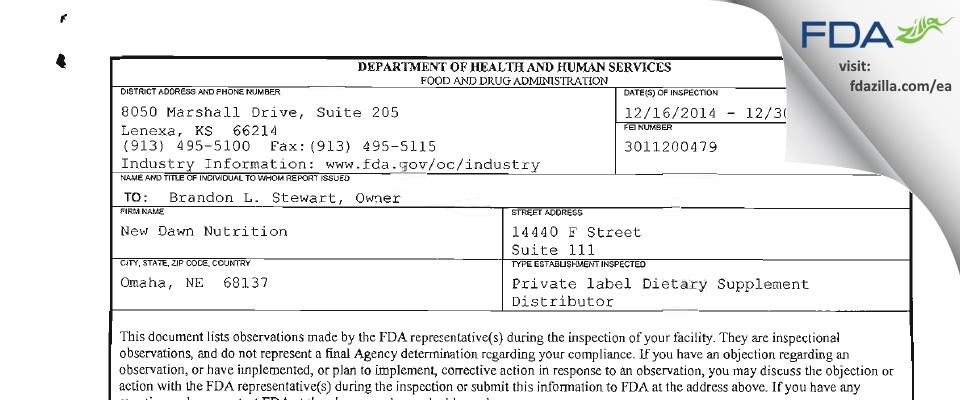 New Dawn Nutrition FDA inspection 483 Dec 2014