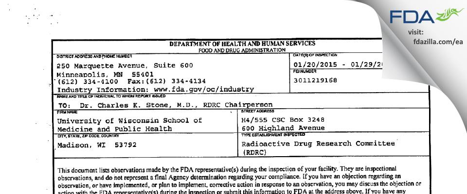 University of Wisconsin School of Medicine and Public Health FDA inspection 483 Jan 2015
