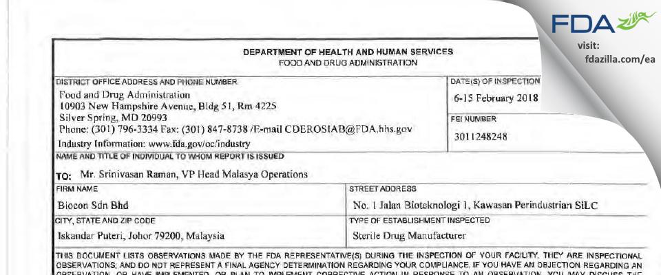 Biocon Sdn Bhd FDA inspection 483 Feb 2018
