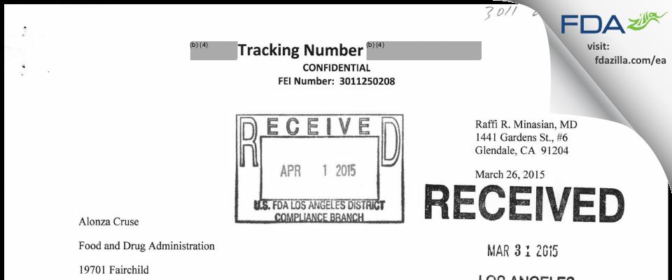 Raffi R. Minasian, M.D. FDA inspection 483 Mar 2015
