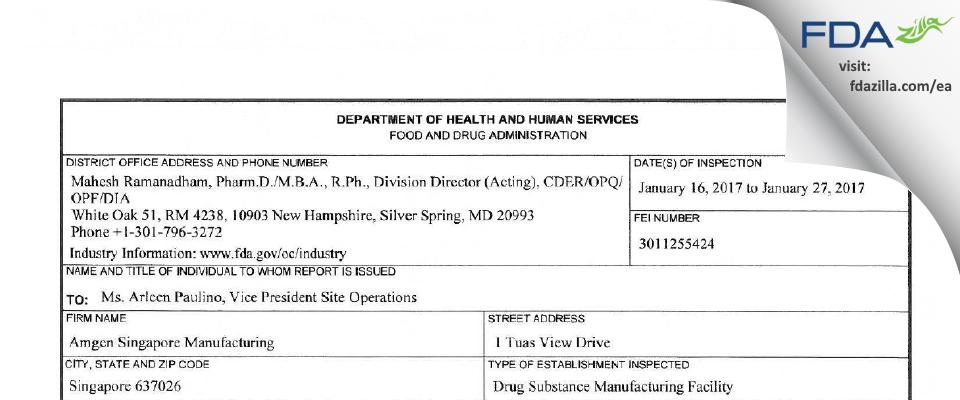 Amgen Singapore Manufacturing Pte FDA inspection 483 Jan 2017
